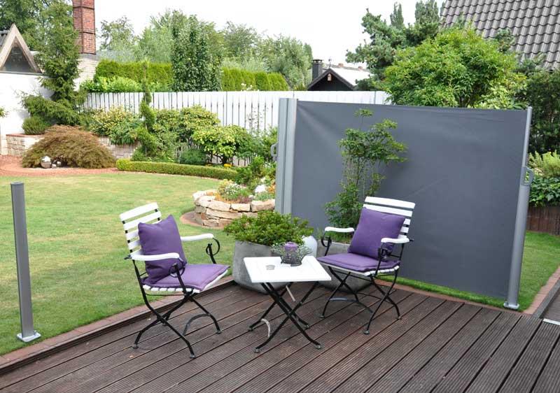 sichtschutz doppel seitenmarkise m nchen ausziehbar 3 m anthrazit. Black Bedroom Furniture Sets. Home Design Ideas