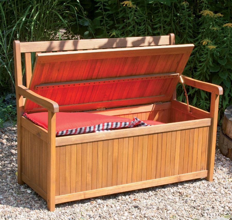 holzbank gartenbank boston 116 cm mit kissenbox holzbank siena. Black Bedroom Furniture Sets. Home Design Ideas
